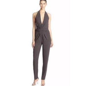 Halston Heritage Sleeveless Jumpsuit Gray Crepe XS